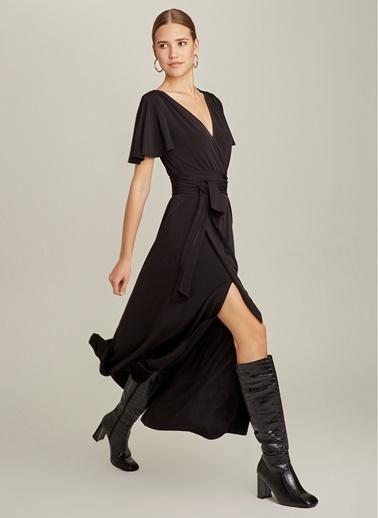 NGSTYLE Kemerli Uzun Elbise Siyah